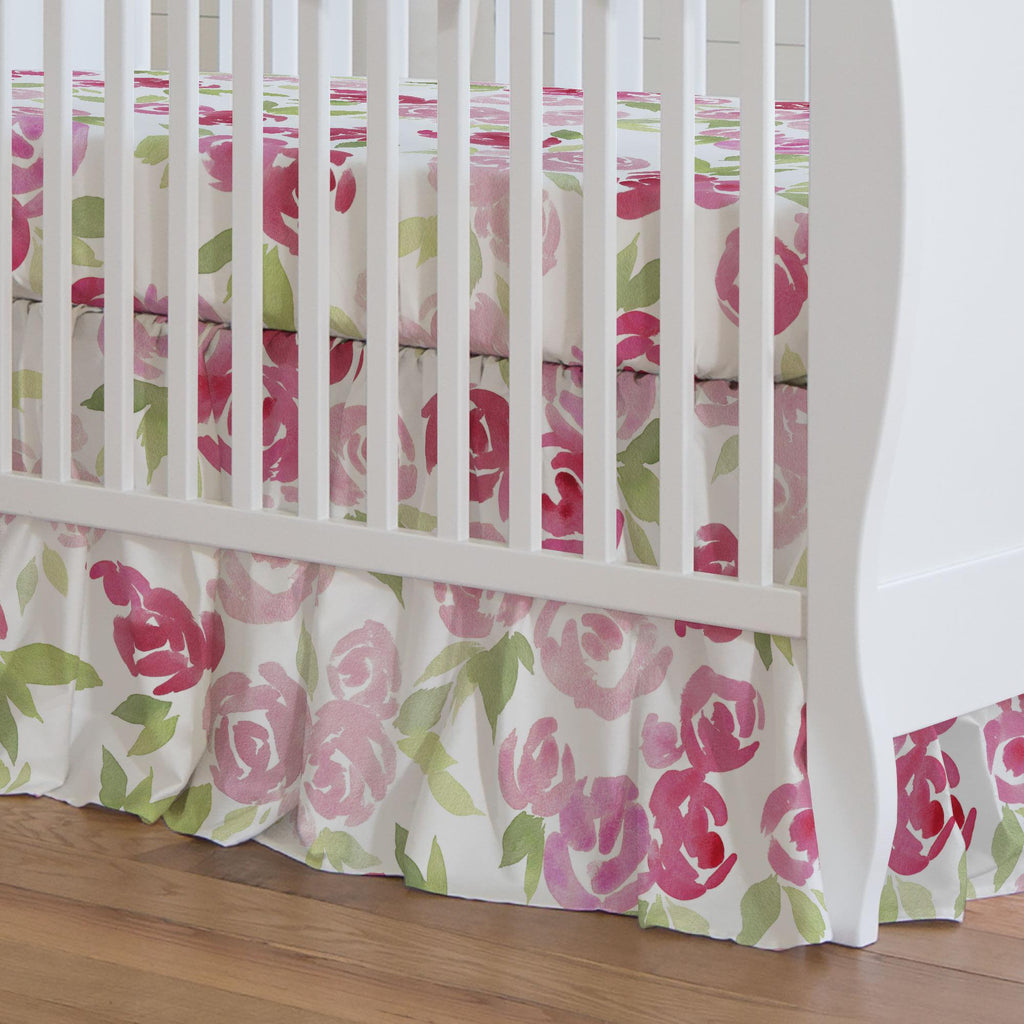 Product image for Watercolor Roses Crib Skirt Gathered