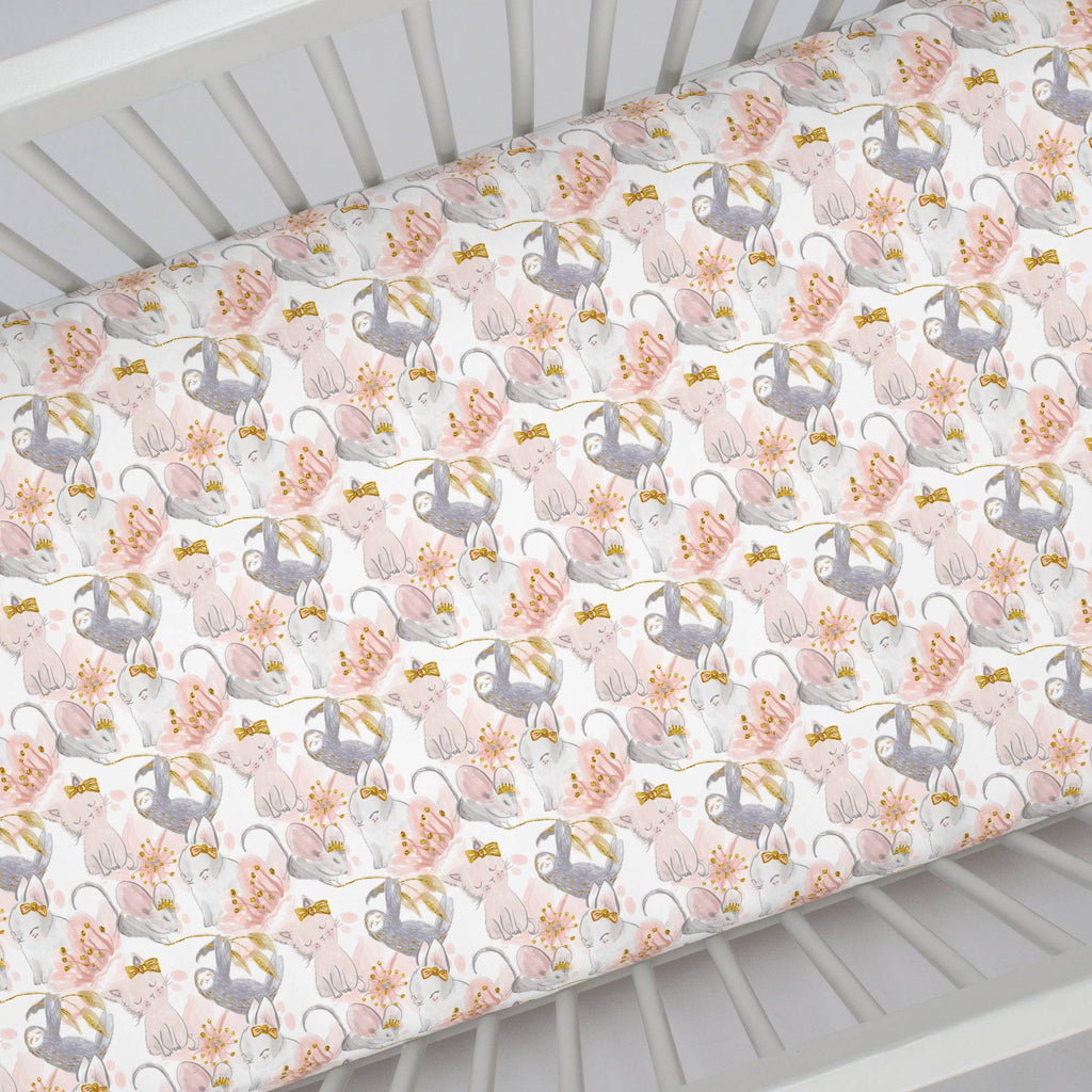 Product image for Pink and Gray Sloth Crib Sheet