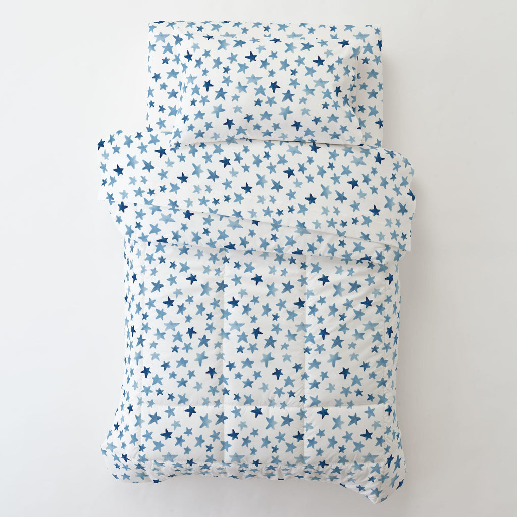 Product image for Blue Watercolor Stars Toddler Comforter