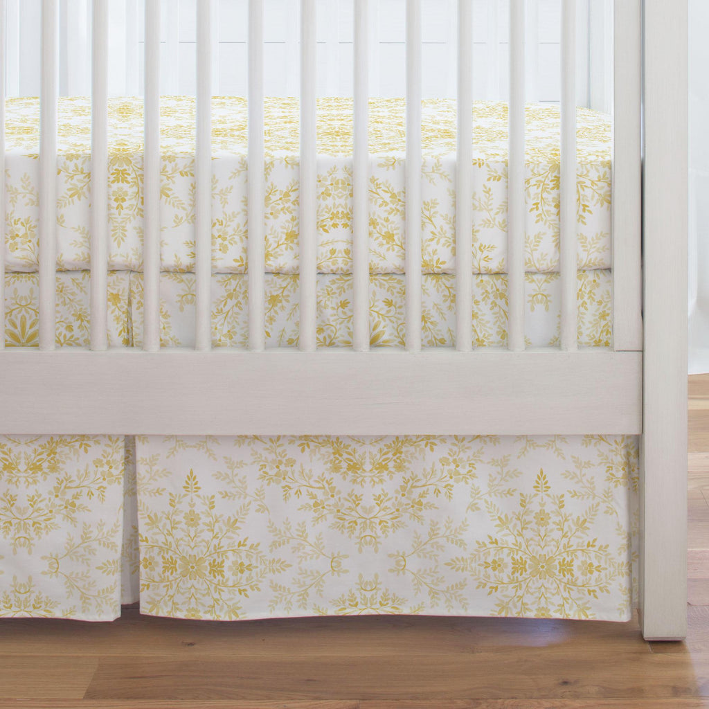 Product image for Yellow Floral Damask Crib Skirt Single-Pleat