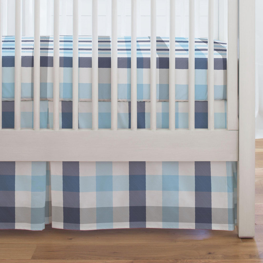 Product image for Navy and Lake Blue Buffalo Check Crib Skirt Single-Pleat