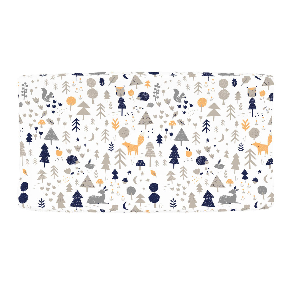 Product image for Taupe and Windsor Navy Baby Woodland Changing Pad Cover