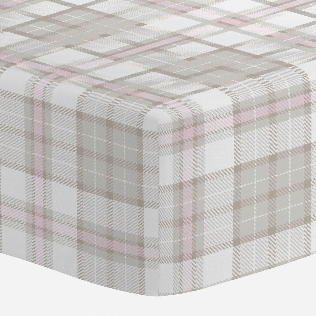 Product image for French Gray and Pink Plaid Mini Crib Sheet