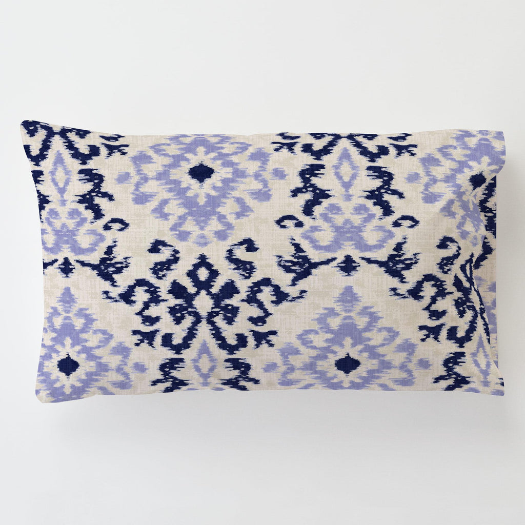 Product image for Navy and Lavender Ikat Damask Toddler Pillow Case
