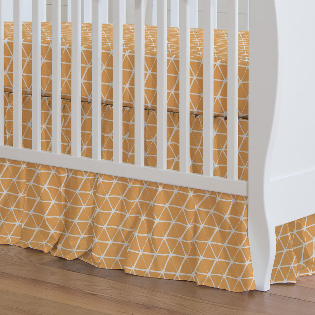 Product image for Light Orange Aztec Triangles Crib Skirt Gathered