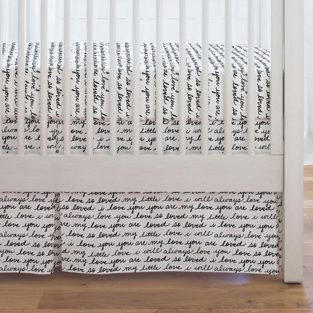 Product image for Onyx Love Words Crib Skirt Single-Pleat