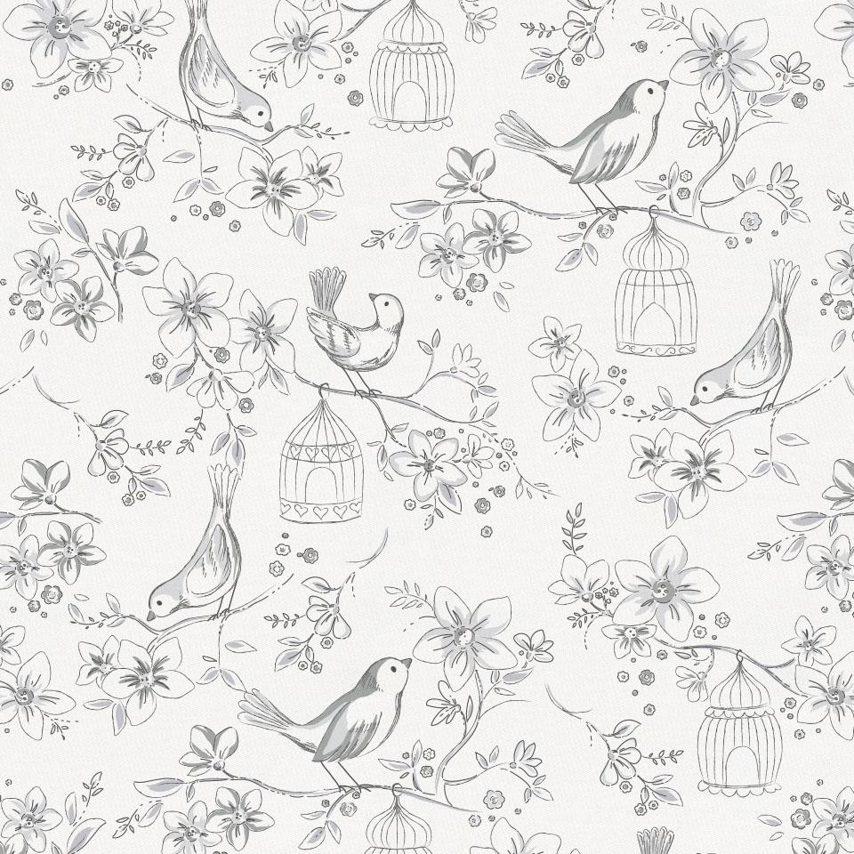 Product image for White and Gray Bird Cage Drape Panel
