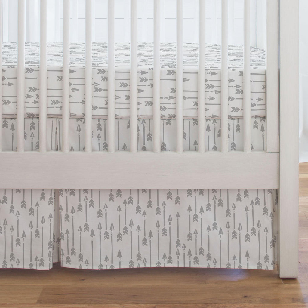 Product image for Silver Gray Flying Arrow Crib Skirt Single-Pleat