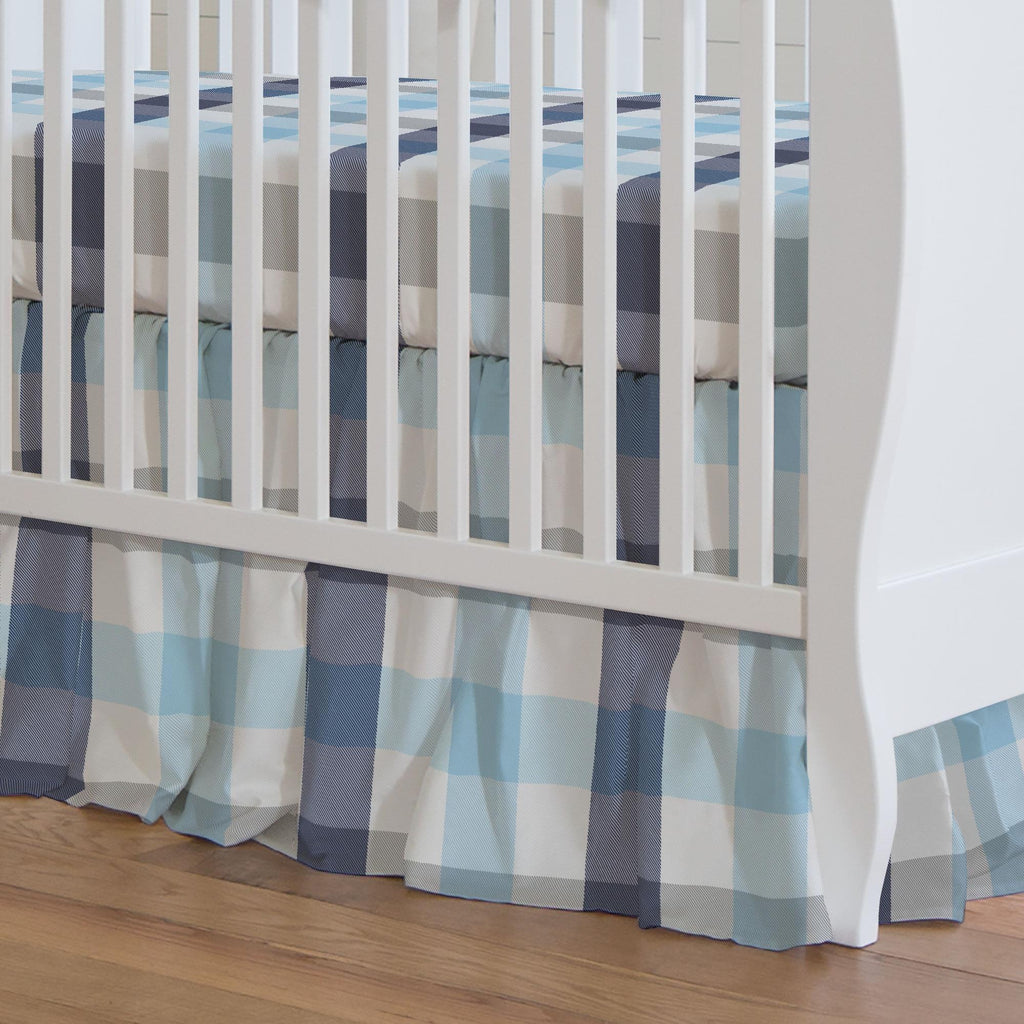 Product image for Navy and Lake Blue Buffalo Check Crib Skirt Gathered