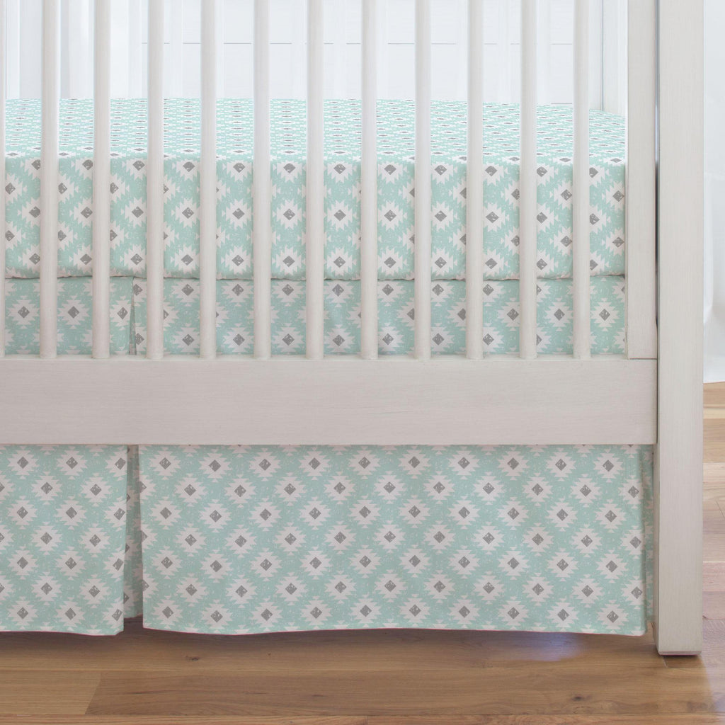 Product image for Icy Mint and Gray Aztec Crib Skirt Single-Pleat