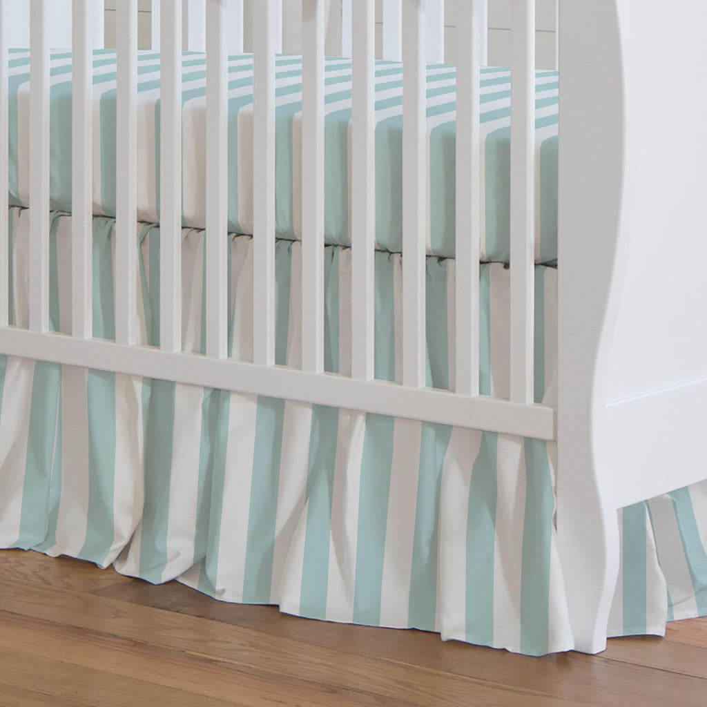 Product image for Mist Canopy Stripe Crib Skirt Gathered