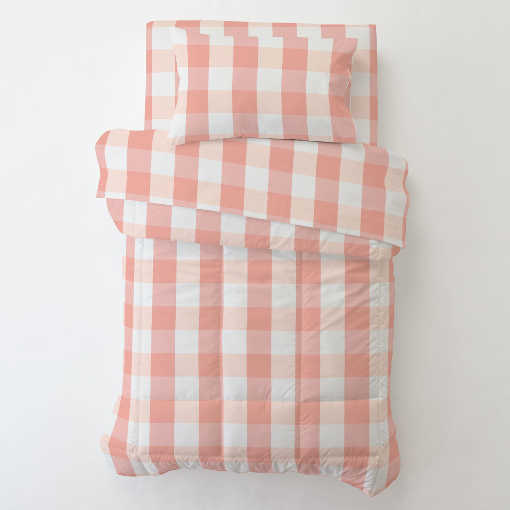 Product image for Light Coral and Peach Buffalo Check Toddler Comforter