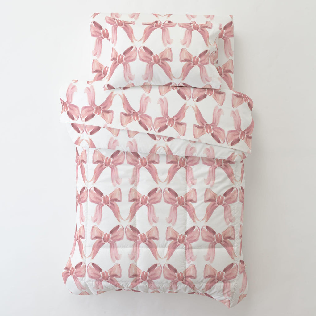 Product image for Pink Watercolor Bows Toddler Pillow Case with Pillow Insert