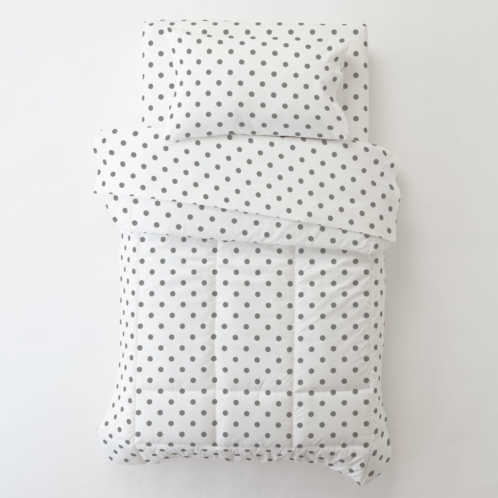 Product image for White and Gray Polka Dot Toddler Comforter