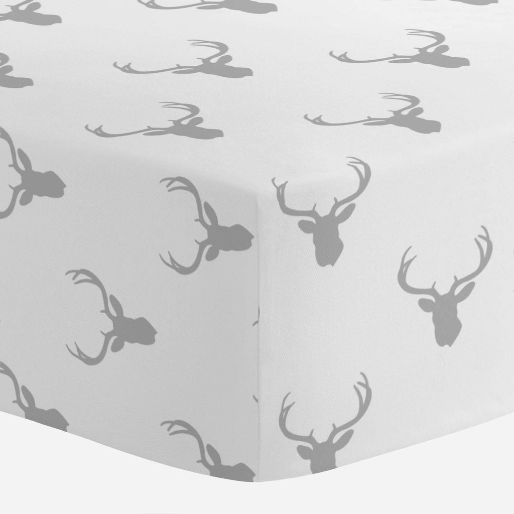 Product image for Silver Gray Deer Silhouette Mini Crib Sheet