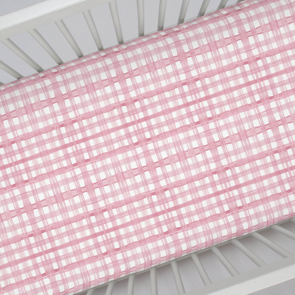 Product image for Pink Watercolor Plaid Crib Sheet