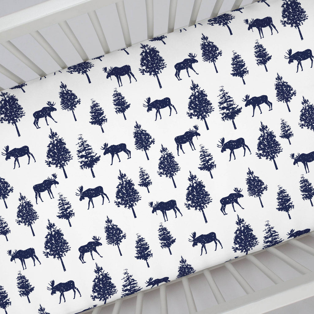 Product image for Navy Moose Crib Sheet
