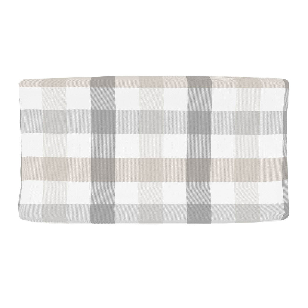 Product image for Gray and Taupe Buffalo Check Changing Pad Cover