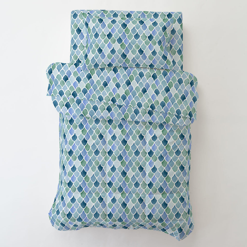 Product image for Blue Watercolor Scales Toddler Comforter