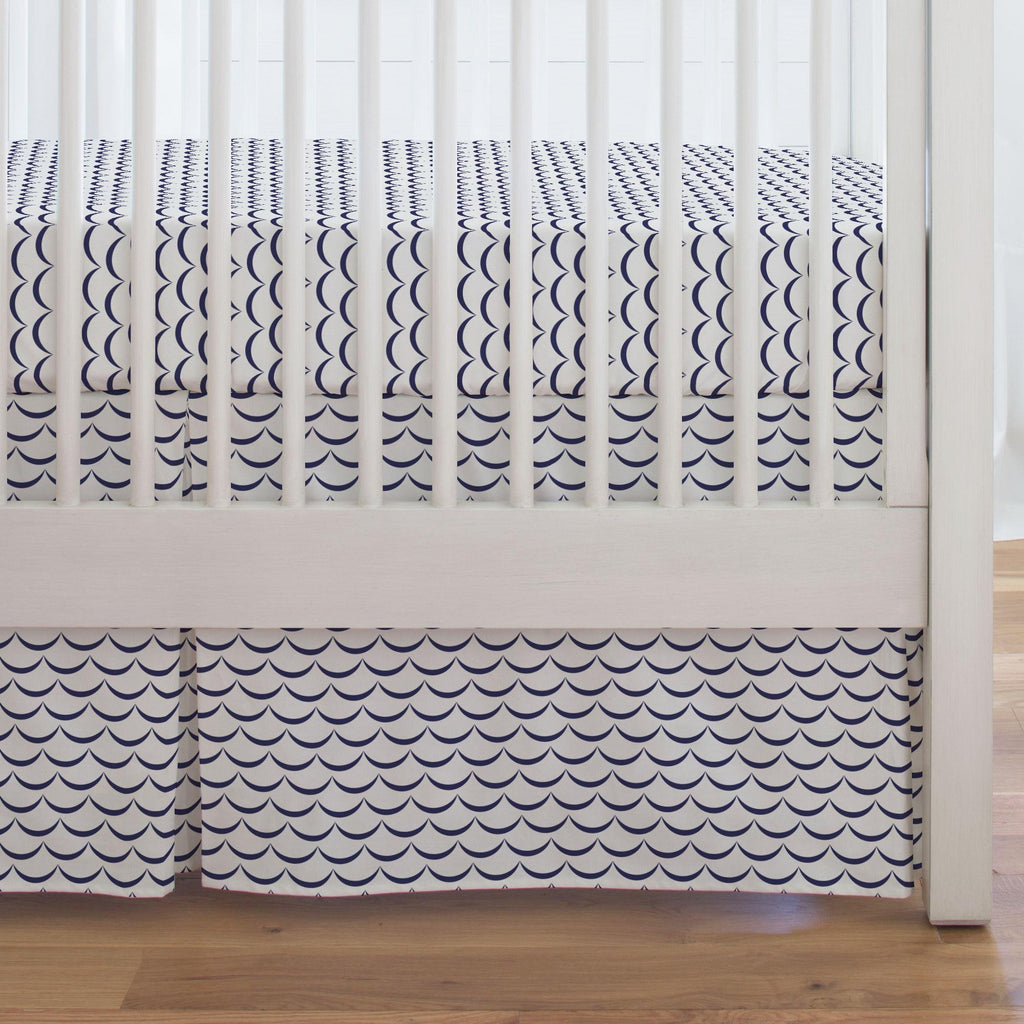 Product image for White and Navy Waves Crib Skirt Single-Pleat