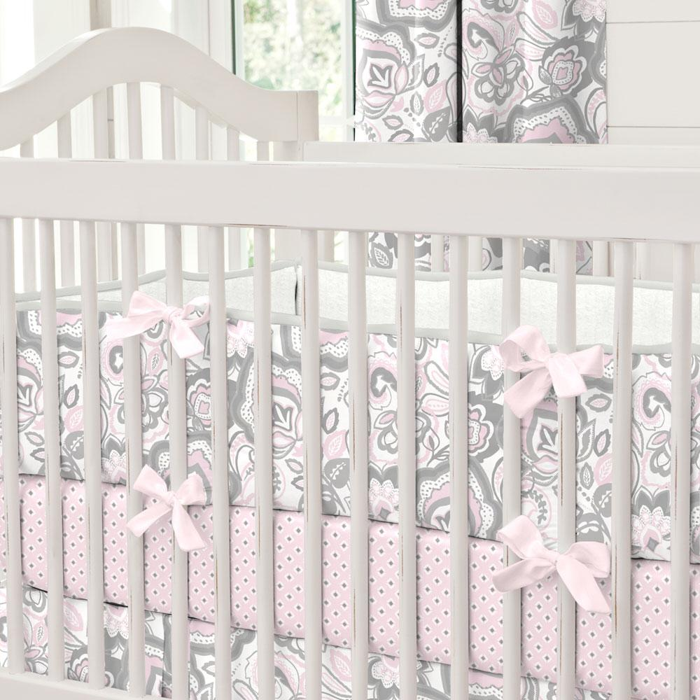 Product image for Pink and Gray Jacobean Crib Bumper
