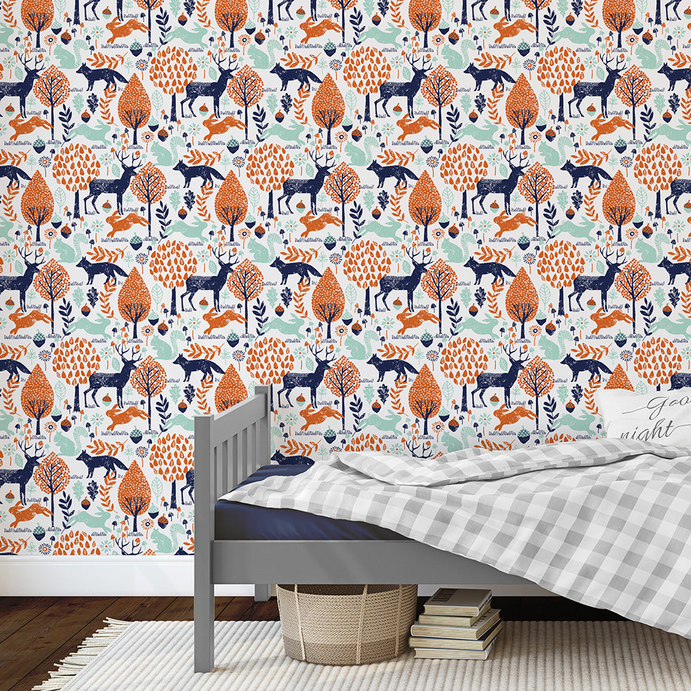 Product image for Navy And Orange Woodland Animals Wallpaper Panel