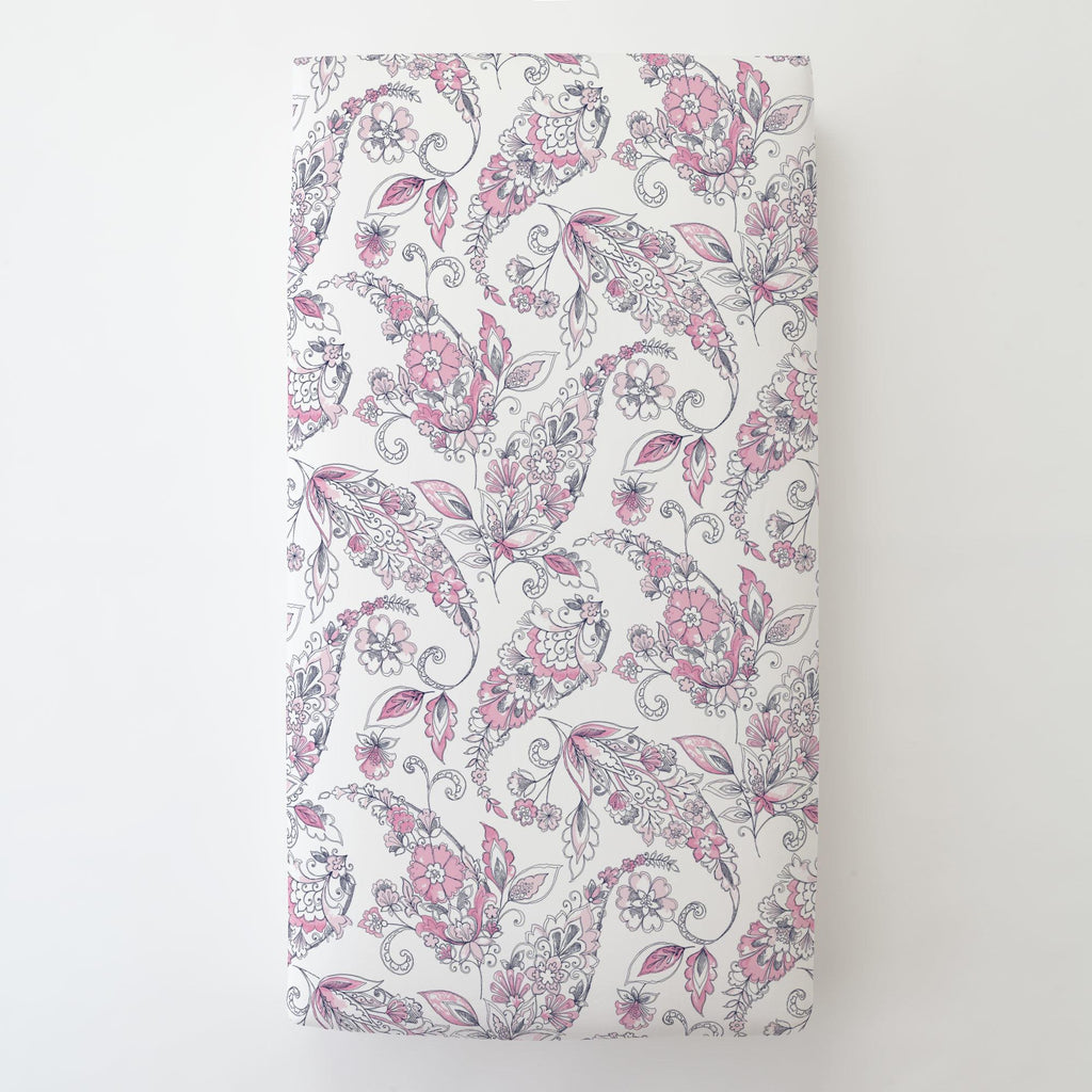 Product image for Pink and Navy Sketchbook Floral Toddler Sheet Bottom Fitted