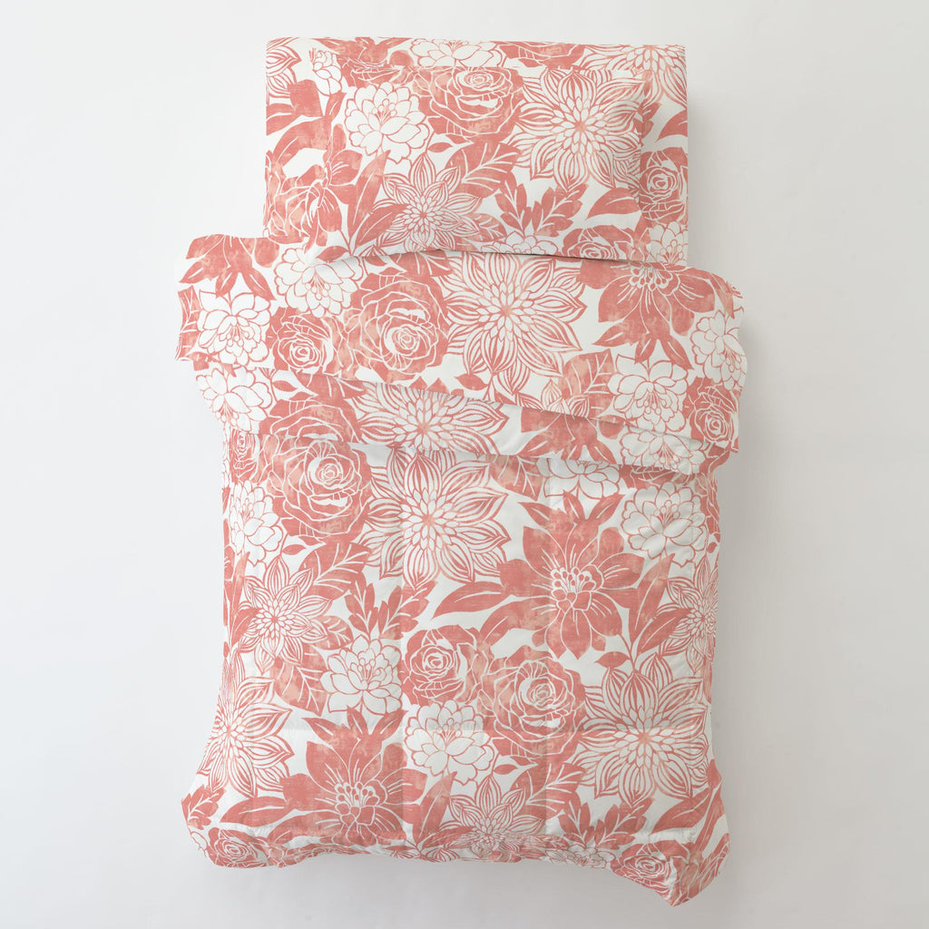 Product image for Light Coral Modern Blooms Toddler Pillow Case with Pillow Insert