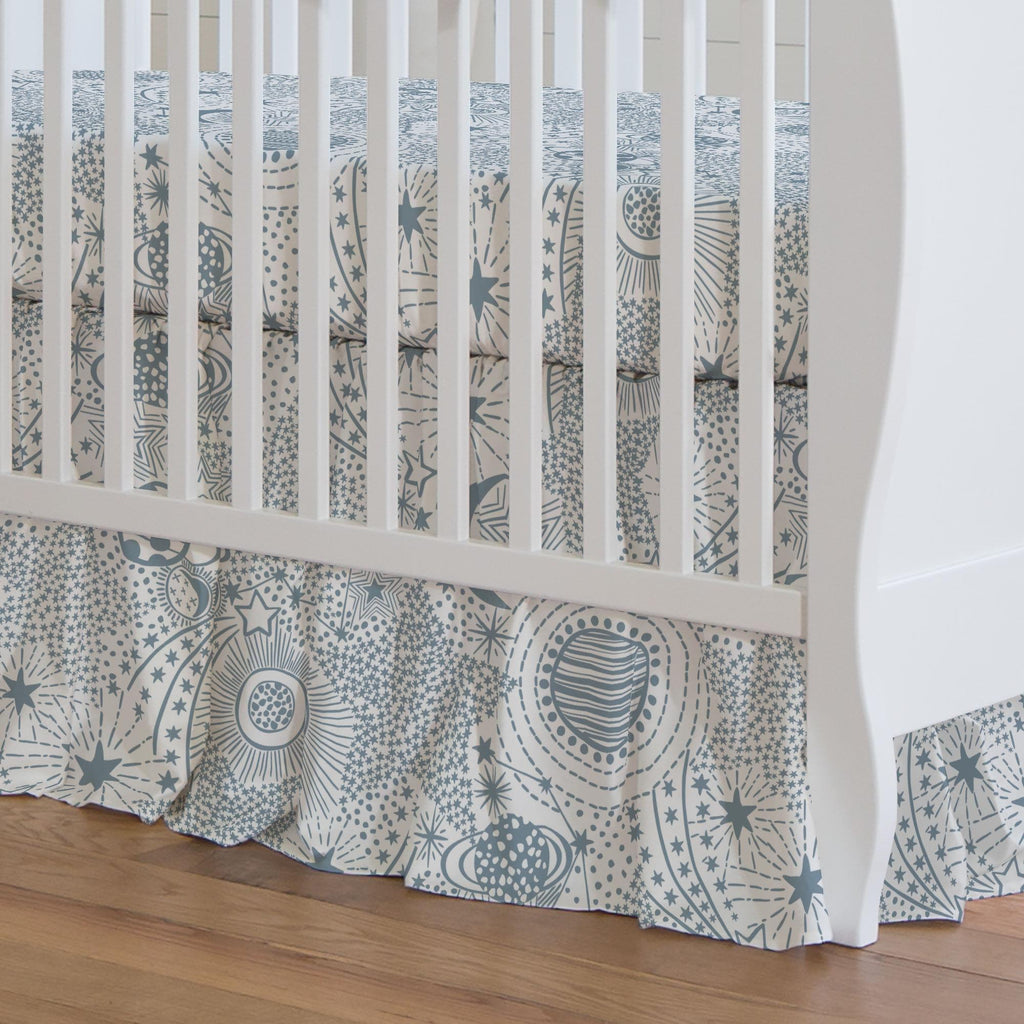 Product image for Steel Blue Galaxy Crib Skirt Gathered