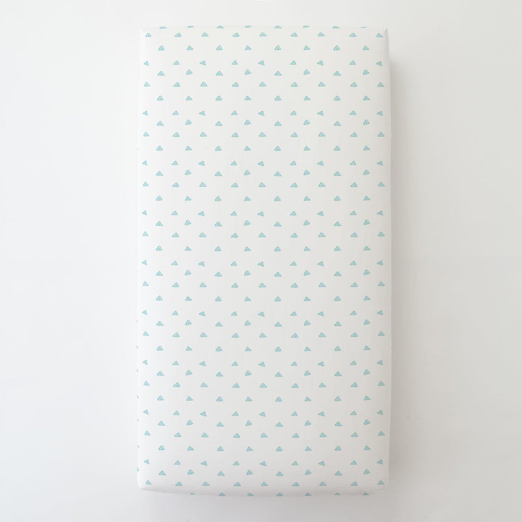 Product image for Seafoam Aqua Triangle Dots Toddler Sheet Bottom Fitted
