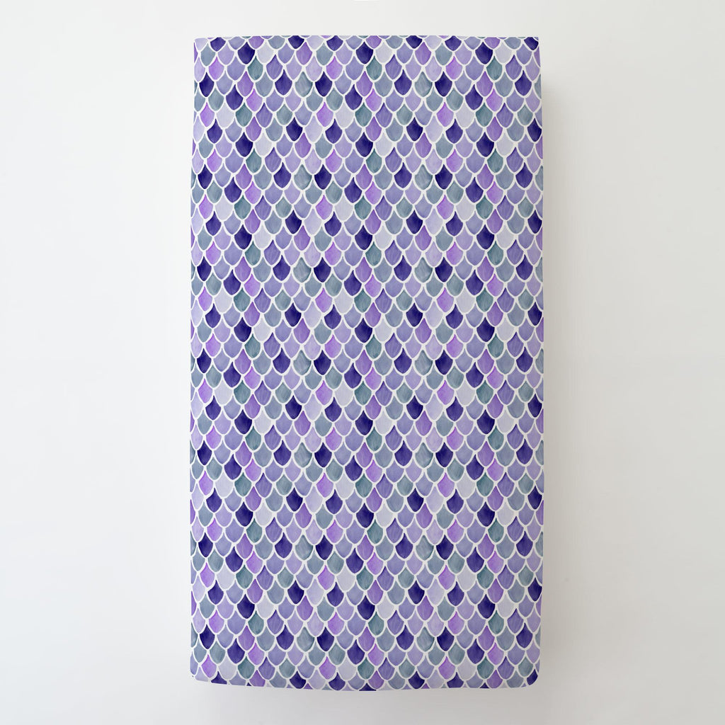 Product image for Lilac Watercolor Scales Toddler Sheet Bottom Fitted