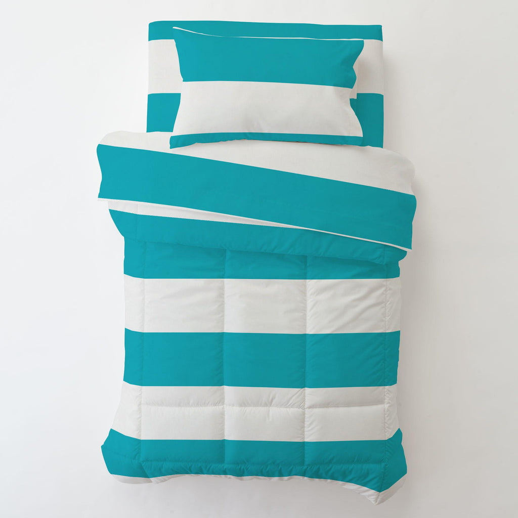 Product image for Teal Horizontal Stripe Toddler Pillow Case with Pillow Insert