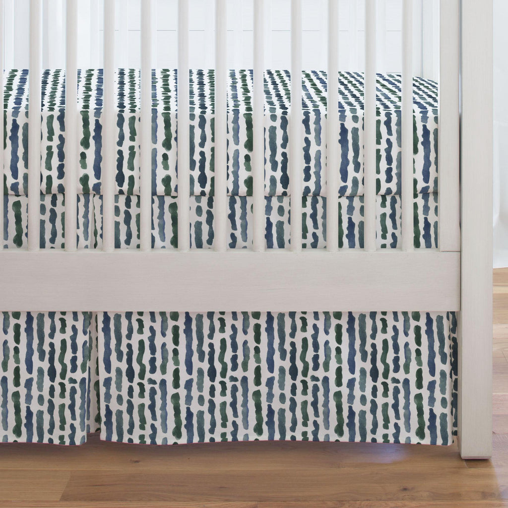 Product image for Sea Green Stripe Crib Skirt Single-Pleat