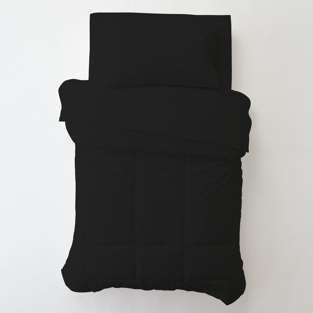 Product image for Solid Black Toddler Pillow Case with Pillow Insert