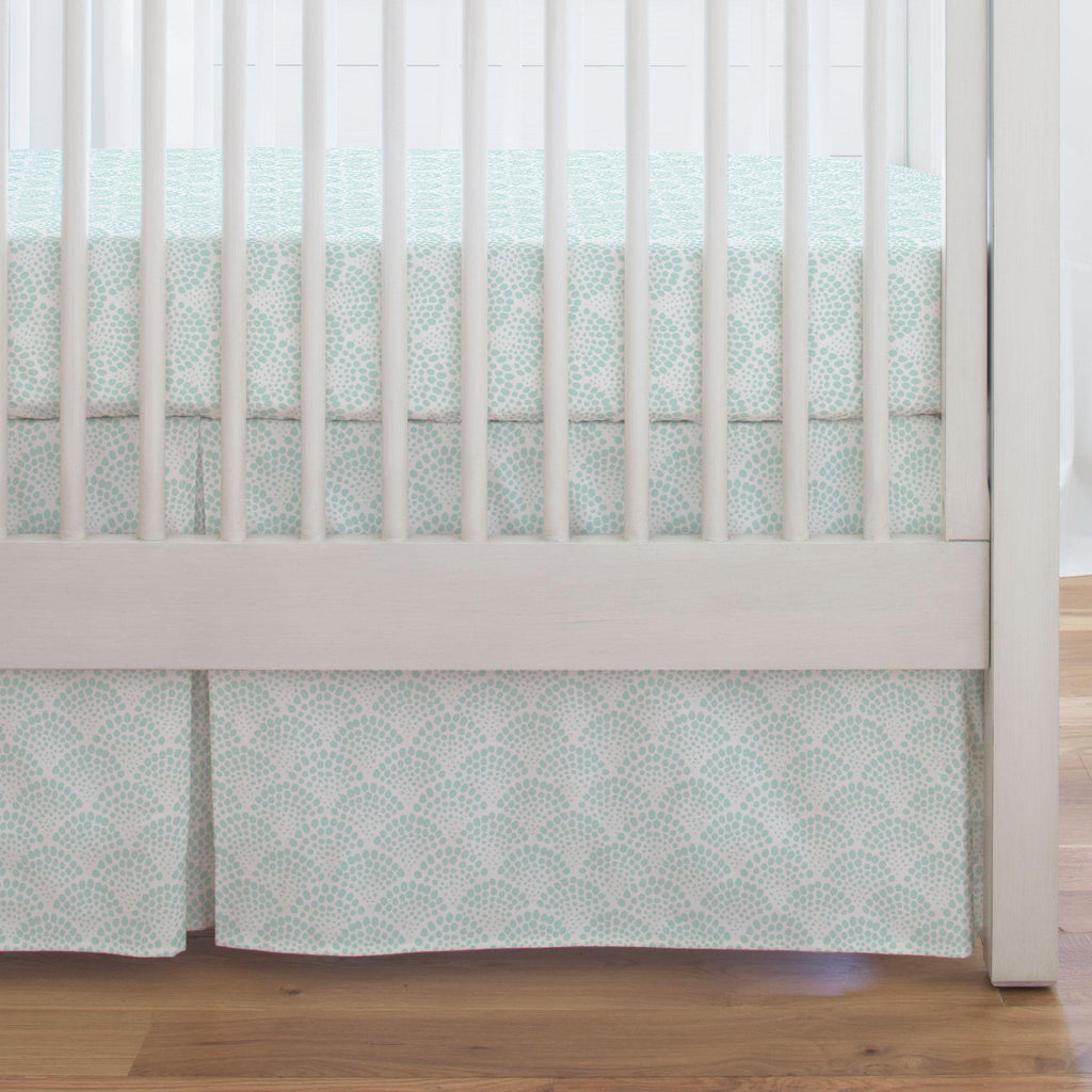Product image for Icy Mint Scallop Dot Crib Skirt Single-Pleat