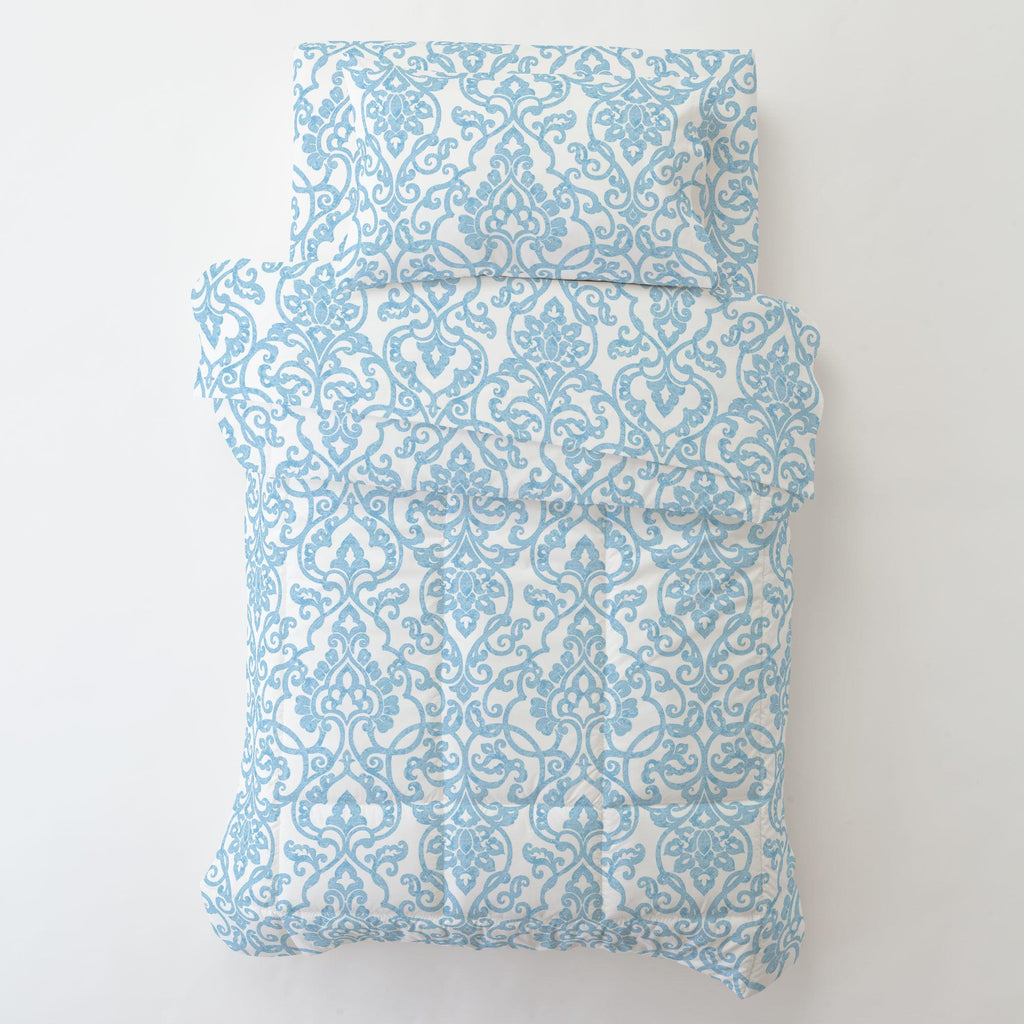 Product image for Blue Filigree Toddler Pillow Case with Pillow Insert