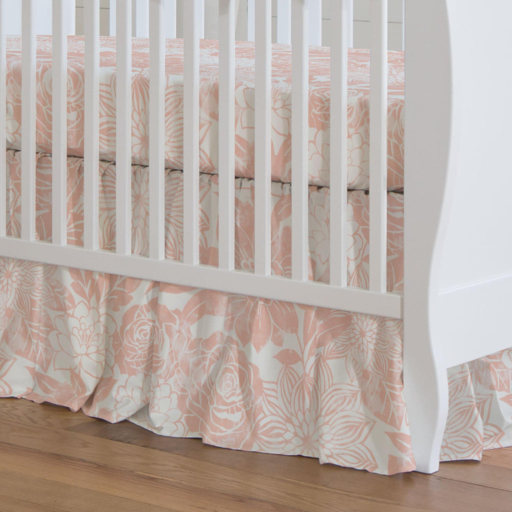 Product image for Peach Modern Blooms Crib Skirt Gathered