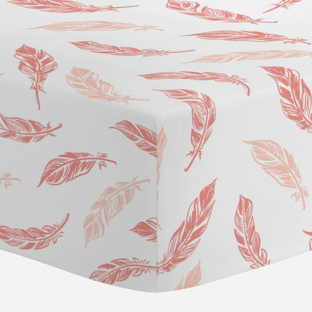 Product image for Light Coral and Peach Hand Drawn Feathers Mini Crib Sheet