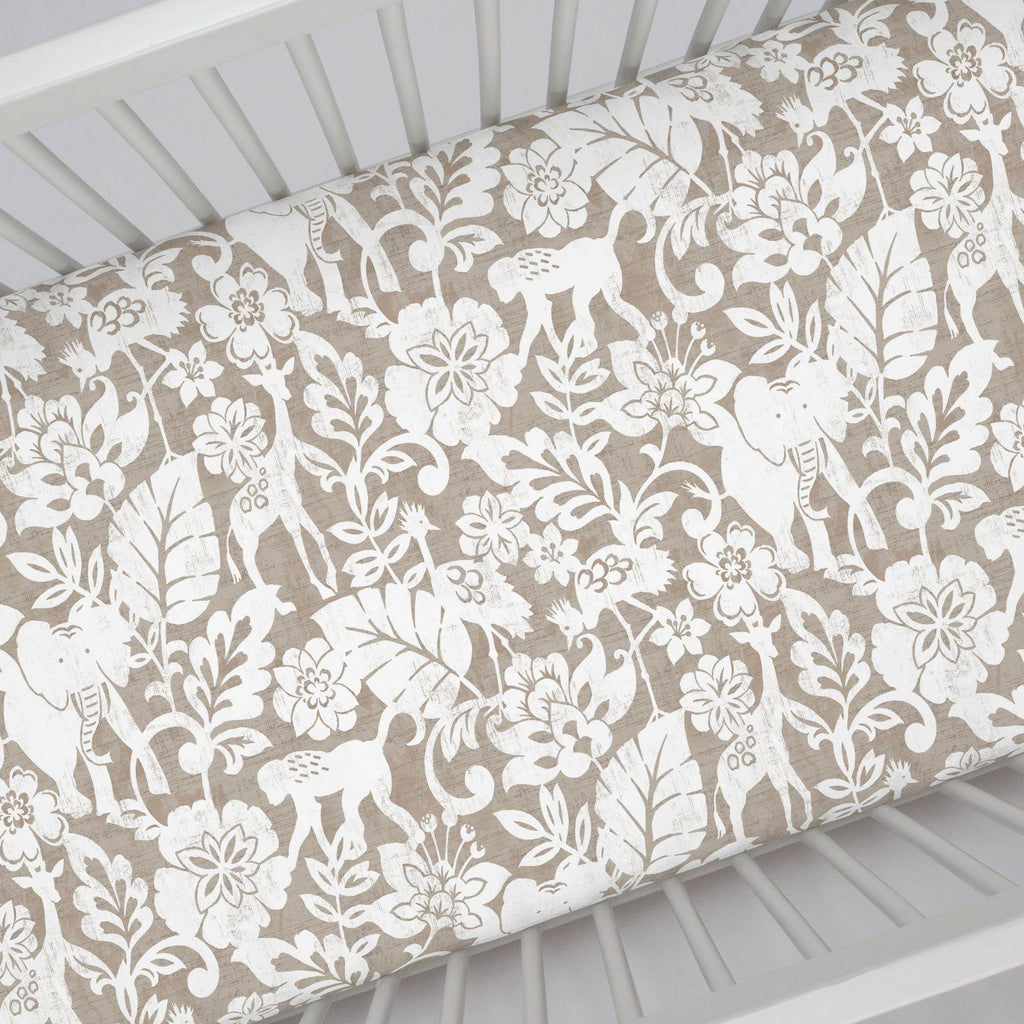 Product image for Taupe and White Jungle Crib Sheet