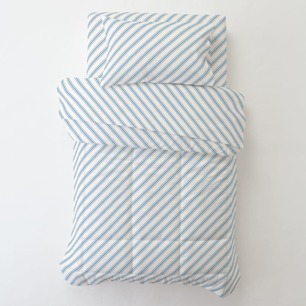 Product image for Gray and Sky Blue Necktie Stripe Toddler Pillow Case with Pillow Insert