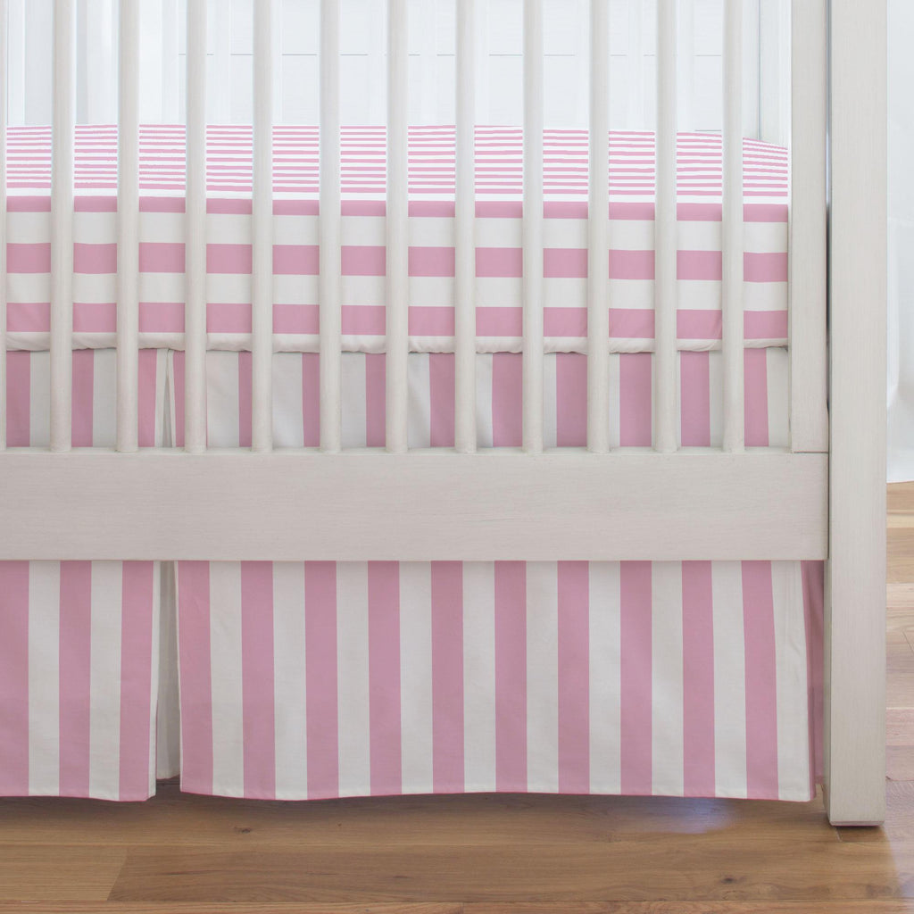Product image for Bubblegum Pink Stripe Crib Skirt Single-Pleat
