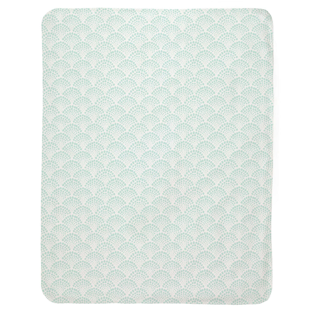 Product image for Icy Mint Scallop Dot Baby Blanket