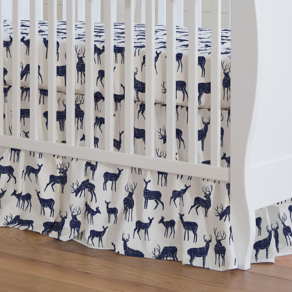 Product image for Windsor Navy Deer Crib Skirt Gathered