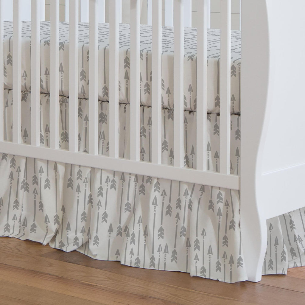 Product image for Silver Gray Flying Arrow Crib Skirt Gathered