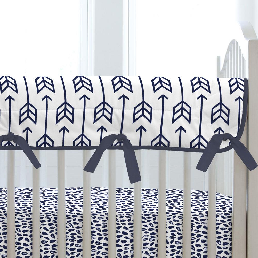 Product image for White and Navy Aztec Triangles Crib Rail Cover