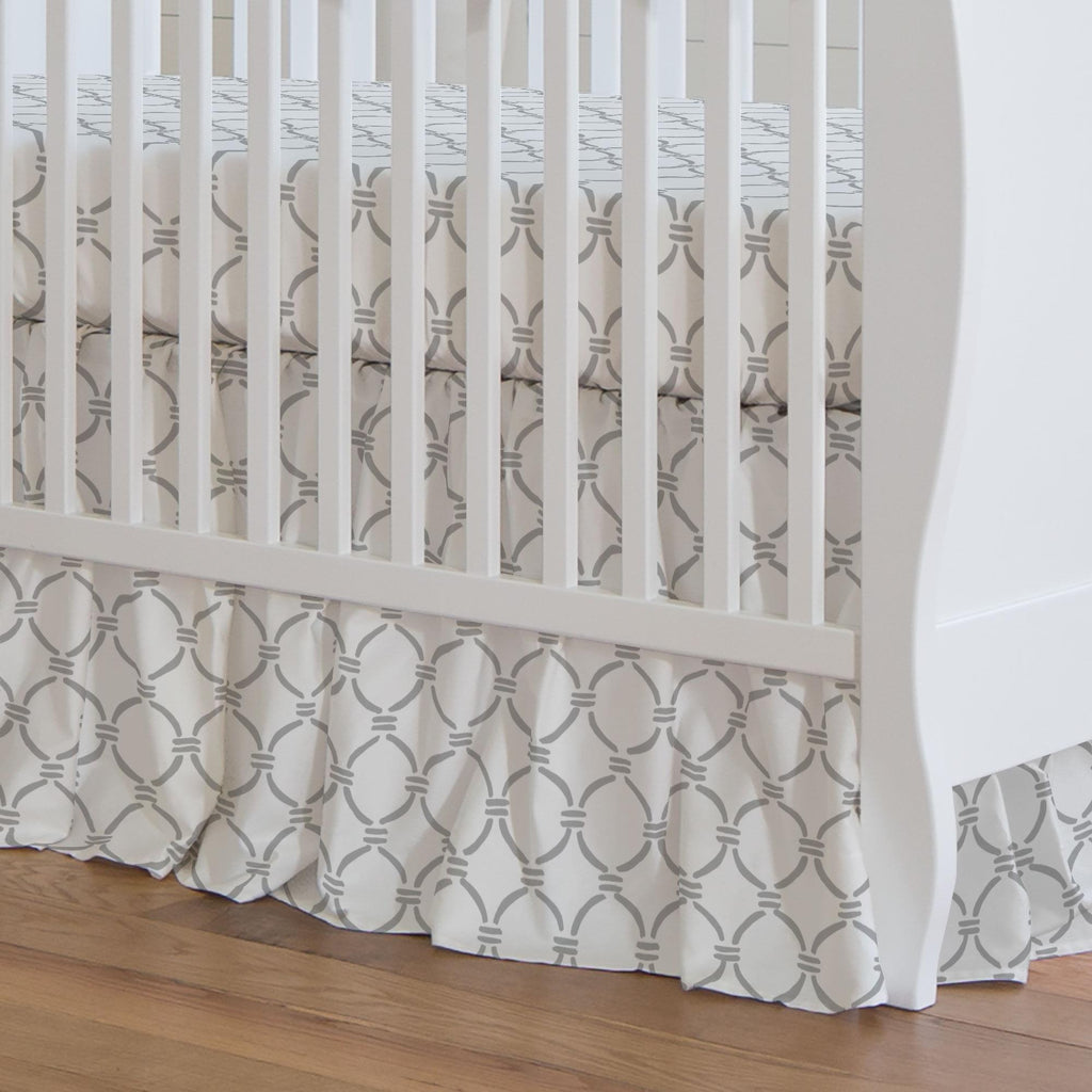 Product image for Silver Gray Lattice Circles Crib Skirt Gathered