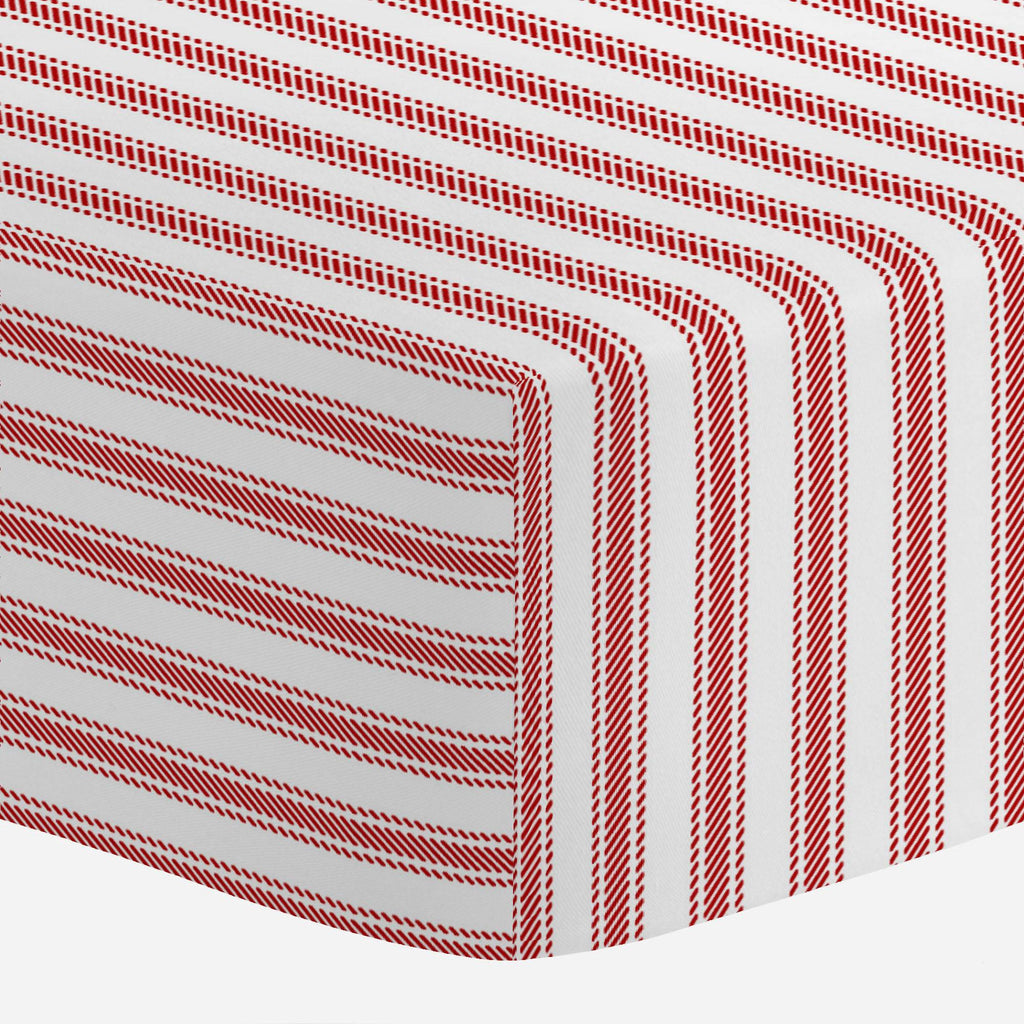 Product image for Red Ticking Stripe Mini Crib Sheet