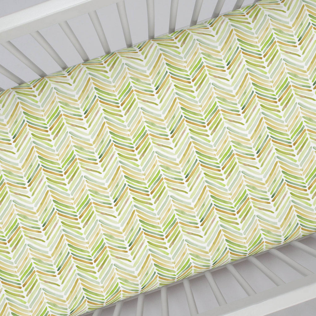 Product image for Green Painted Chevron Crib Sheet