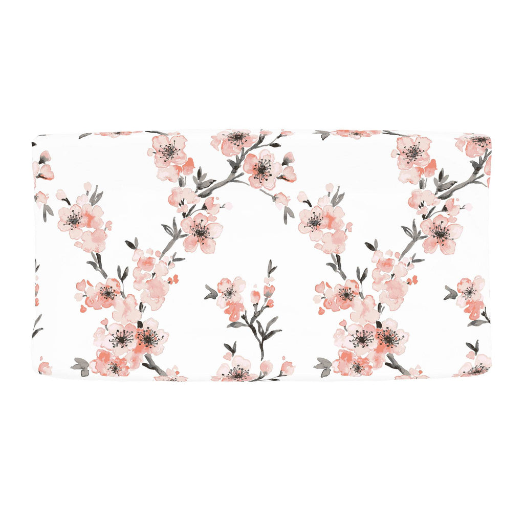 Product image for Light Coral Cherry Blossom Changing Pad Cover