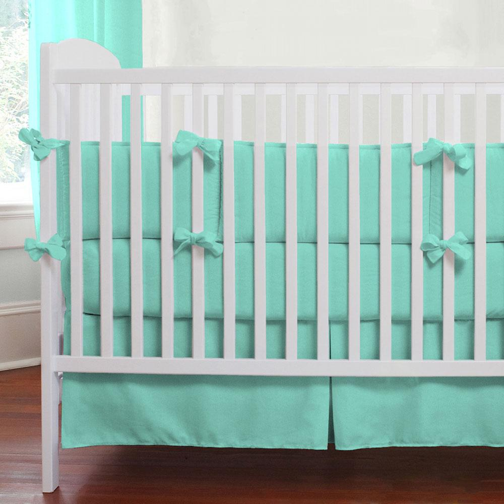 Product image for Solid Teal Crib Skirt
